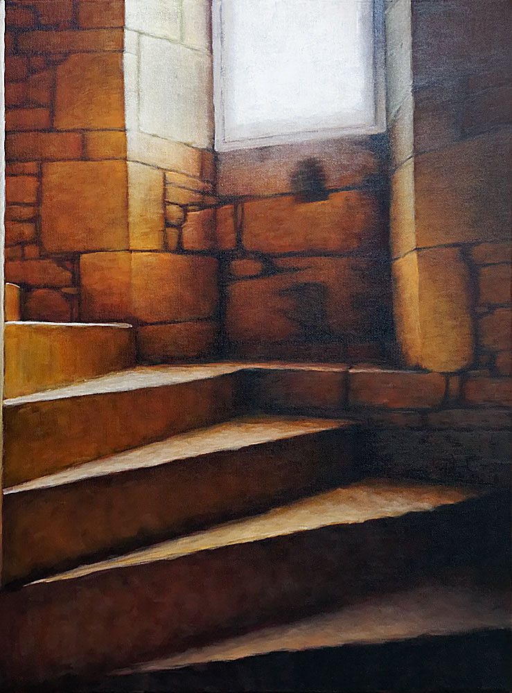 """Stairwell V"", oil on canvas, 24"" z18"""