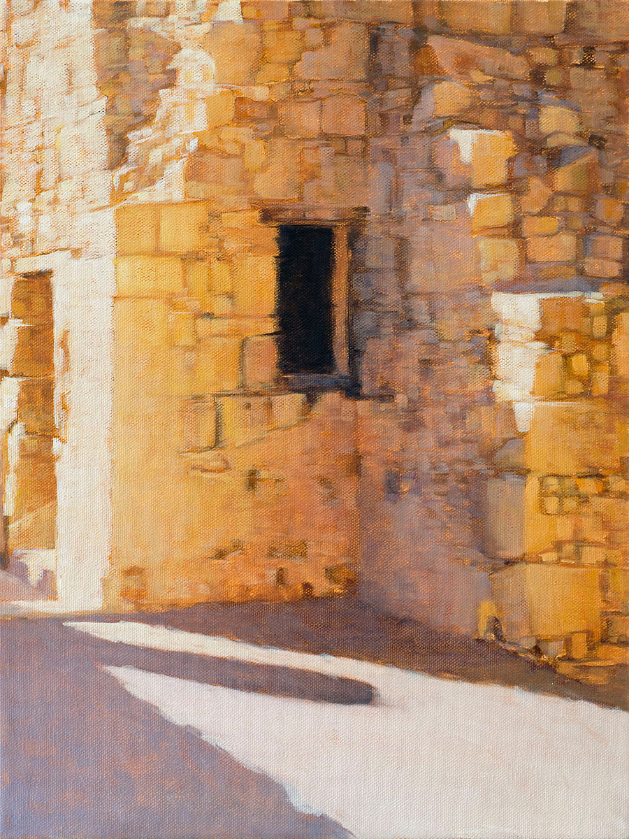 """Ruins in Light"", oil on canvas, 16"" x 12"""