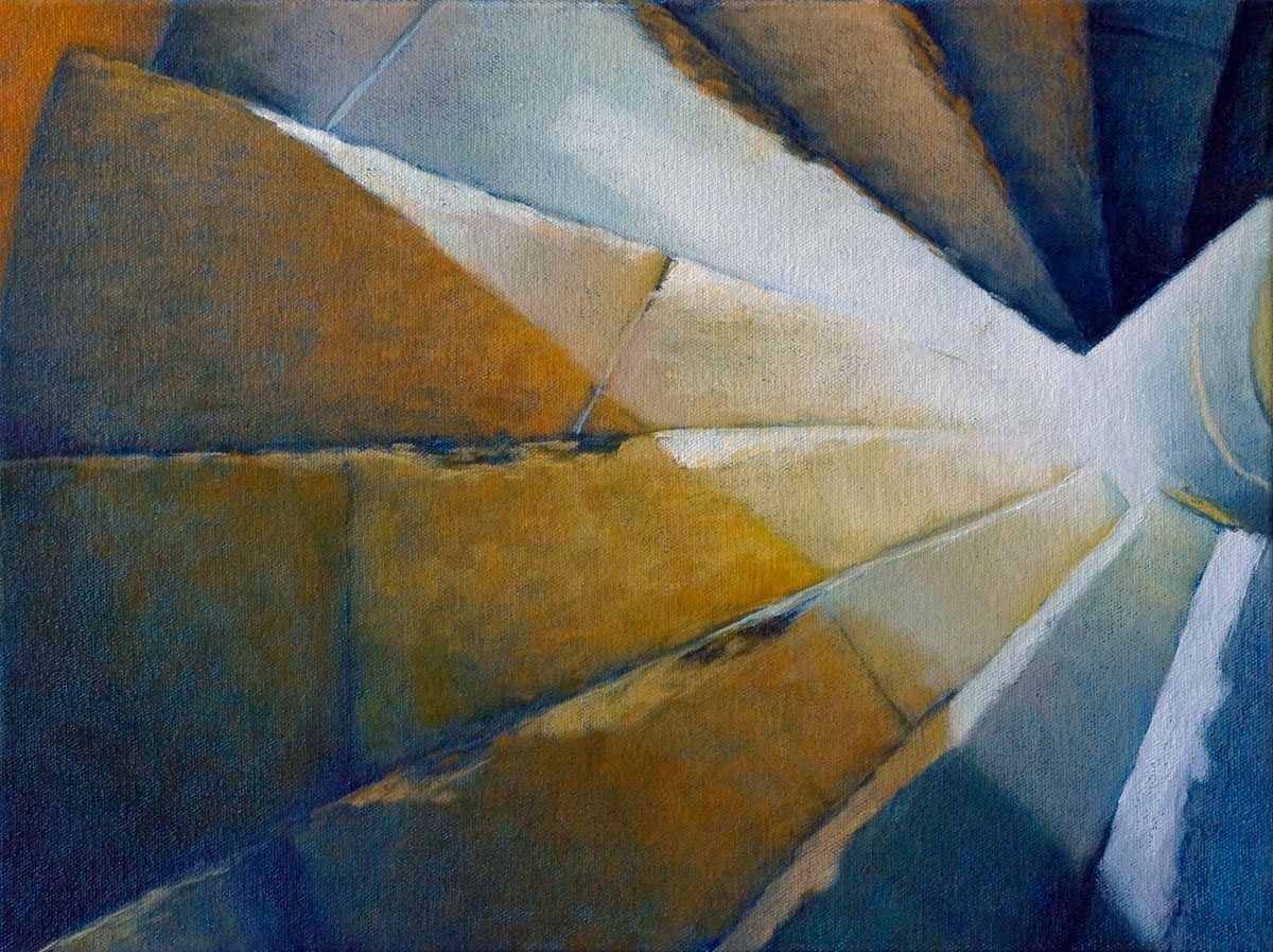 """Stairwell II"", oil on canvas, ""12"" x 16"""